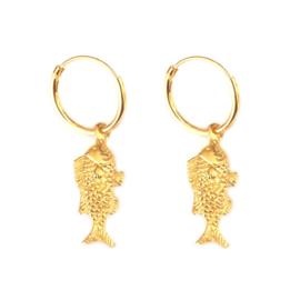 Oorbellen vis goud