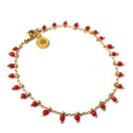 Armband rode kraaltjes Vintage Look