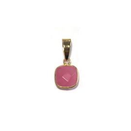 Bedeltje Facet steen Roze jade Verguld