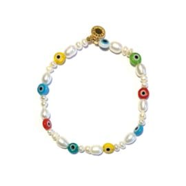 Parel armband Evil eye