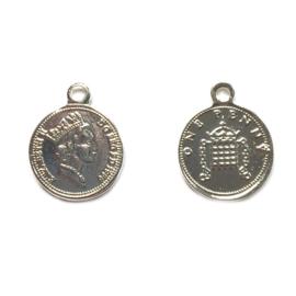 Bedel muntje zilver 15mm