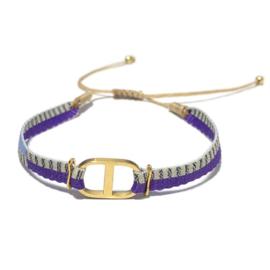 Armband Lila beige Goud schuifknoop