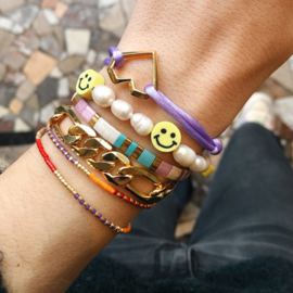 Smiley armband zoetwaterparels
