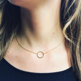 Gold or Silver Plated Circle Necklace