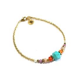 Armband Half edelsteen Turkoois oranje goud