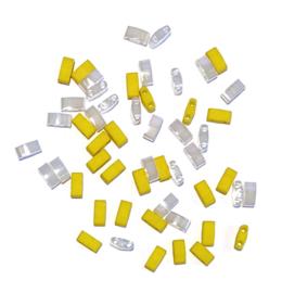 Miyuki half Tila 5 x 2.3mm Ceylon white pearl geel