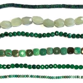 Agaat groen half edelsteen kralen
