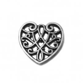 Bedel Hartje Ornament zilver