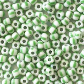 Rocailles Groen wit gestreept 3mm