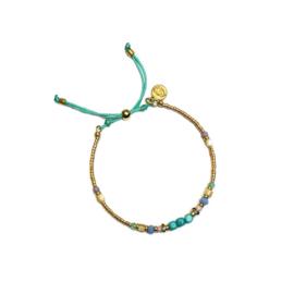 Armband Turkoois Miyuki goud