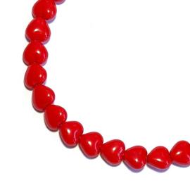 Glaskraal Hartje Rood 6mm