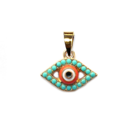 Bedel Goud Evil eye turkoois