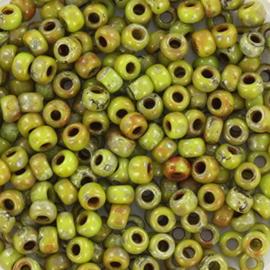 Miyuki Rocailles 8/0 Opaque picasso olijfgroen