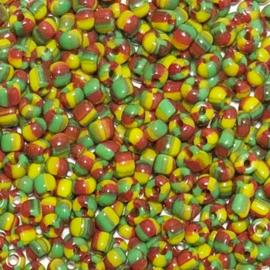 Rocailles gestreept kleurenmix Rood groen geel