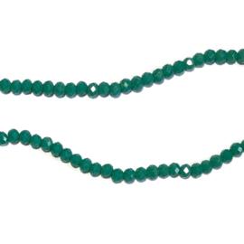 Streng glaskralen facet Turkoois groen