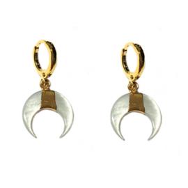 Oorbellen Goud Double horn schelp