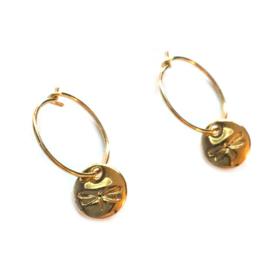 Oorbellen met libelle goud Vintage look