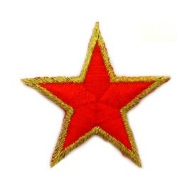 Patch - Strijkplaatje Ster rood goud