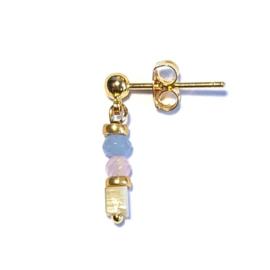 Single Oorbel Pastel blauw roze schelp