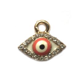 Bedel evil eye verguld kristal rood