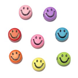 Smiley kralen 7mm kleurenmix
