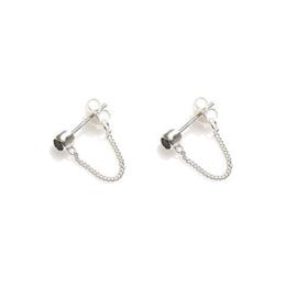 Oorbellen chain kristal zwart zilver