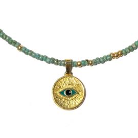 Ketting Evil eye goud Picasso groen