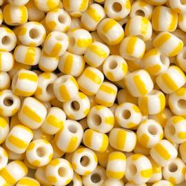 Rocailles Geel wit gestreept 5mm