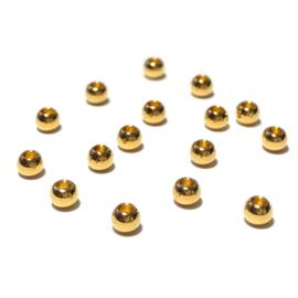 Kraal Rond goud groot gat verguld 3mm
