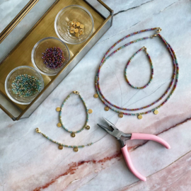DIY Kralen pakket Muntjes 2 kettingen en 2 armbandjes