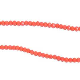 Streng glaskralen facet Koraal roze
