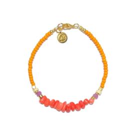Armband Kralen Rocailles Oranje