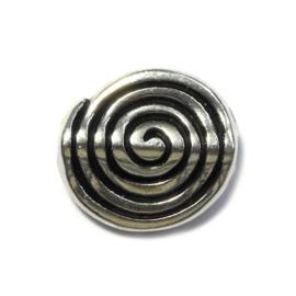Platte ronde mat zilveren kraal