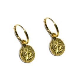 Oorringen Muntje goud Vintage look