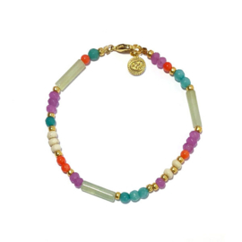 Armband half edelsteen Jade  Koraal lila