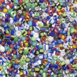 Rocailles gestreept kleurenmix Blauw wit