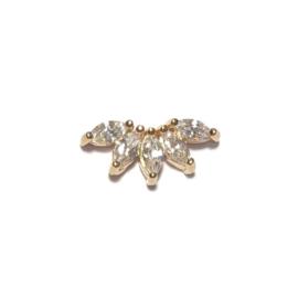 Single oorbel waaier kristal goud