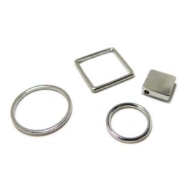 Open ring 12mm verzilverd bedel