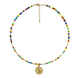 Ketting Smiley goud Colormix Rocailles