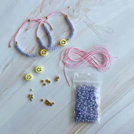 DIY pakket Smiley armbandjes maken Lila Roze Geel