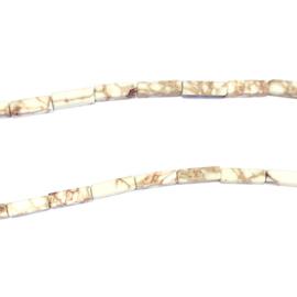 Wit Howlite Halfedelsteen kraal staafje