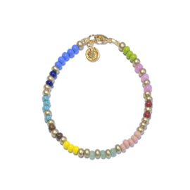 Kralen armband Miyuki blauw roze