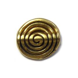 Platte ronde mat gouden kraal