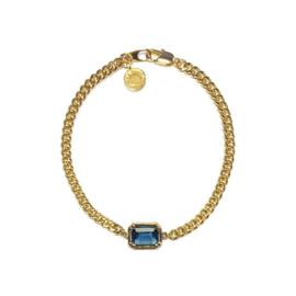 Armband schakel steen Blauw