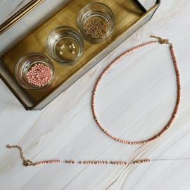 DIY Sieraden maken Ketting Bamboekoraal roze schelp