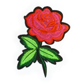 Patch - Strijkplaatje Roos Roze Rood