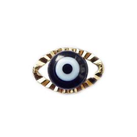 Bedeltje Evil eye zwart goud