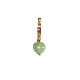 Oorbel Heart Jade strass