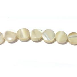 Schelp parelmoer kraal rond plat wit