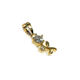 Hanger Roos strass kristal goud